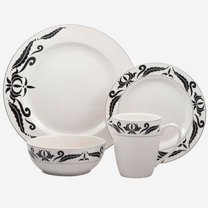 16-Piece Set Stoneware Dinnerware - Windflower Collection