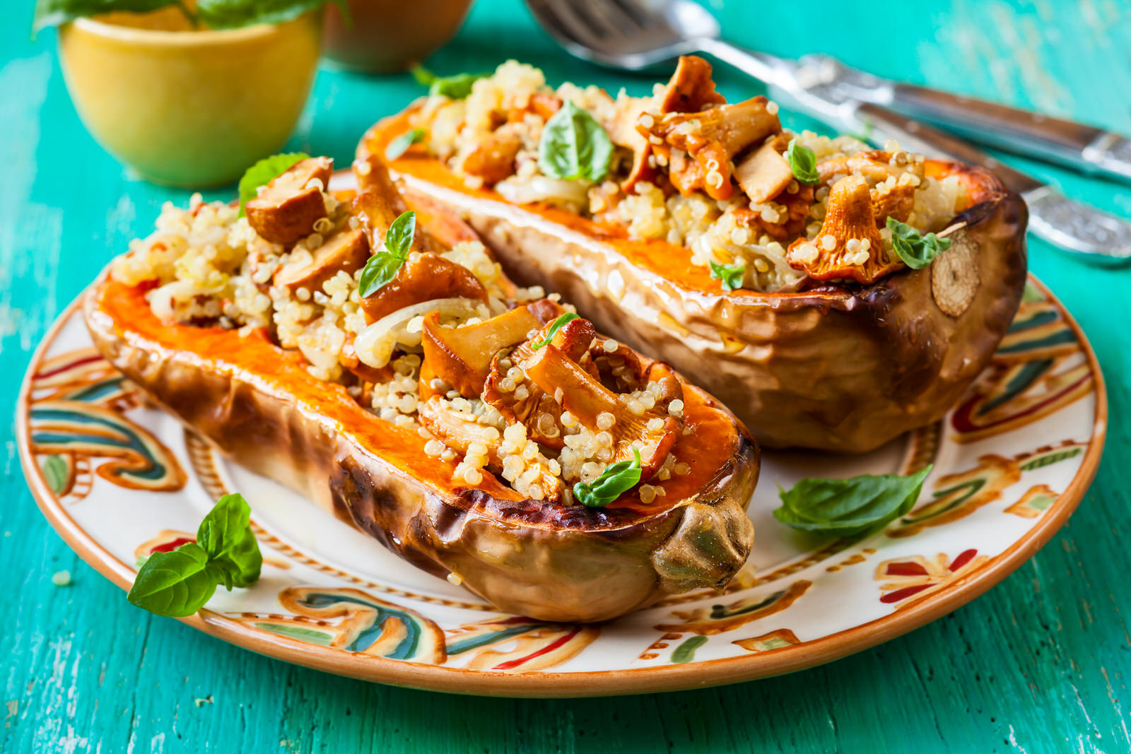 Roasted Buttercup Squash with Wild Rice Pilaf