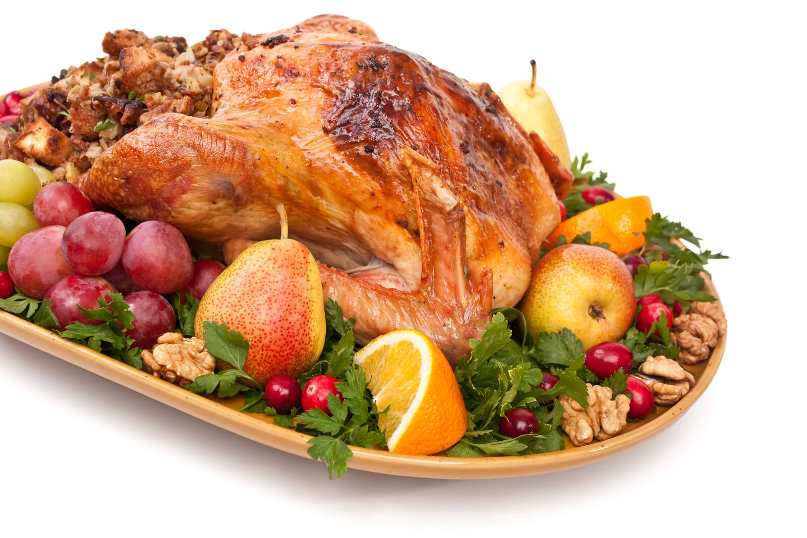Sage and Butter Roasted Turkey with Pear-Walnut Stuffing