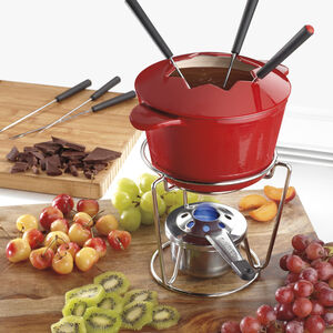 13-Pc. Enamel Cast Iron Fondue Set