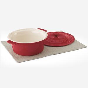 Pintes (2,84 L) plat rond avec couvercle - Rouge