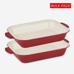 2-Pack 4 Qt. (3.8 L) Rectangular Baker - Red