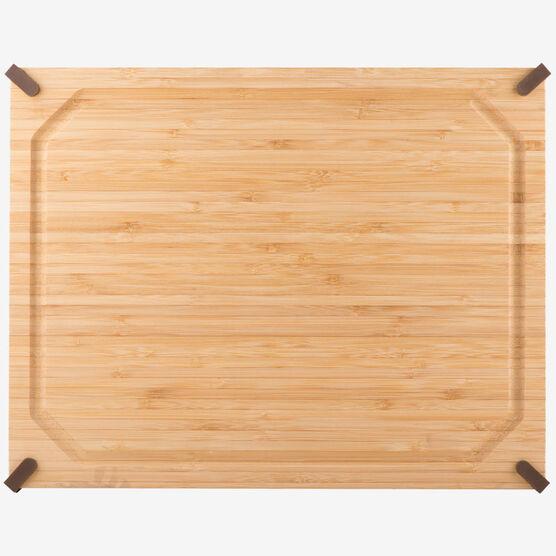 14 x 20 in. (35 x 51 cm) Non-Slip Rectangular Bamboo Cutting Board