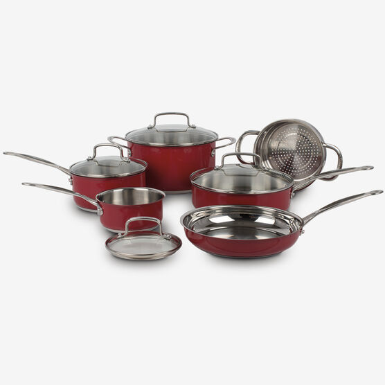 10 Piece Classic Collection Metallic Stainless Steel Cookware Set - Red