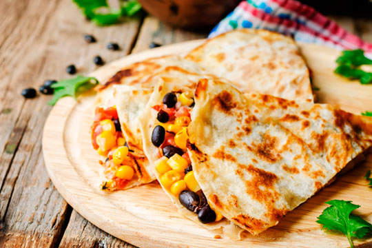 Black Bean and Monterey Jack Quesadilla with Pico de Gallo