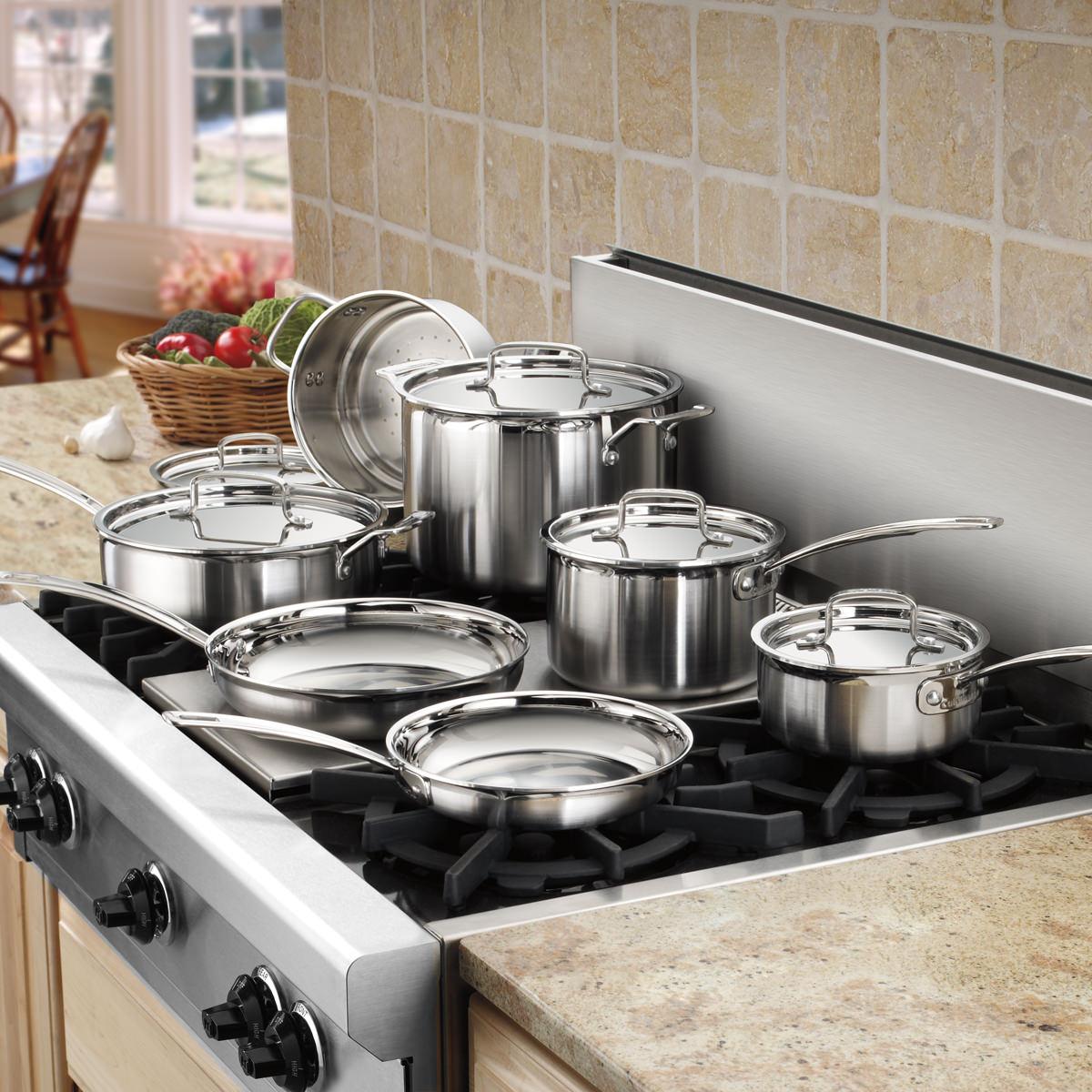 batterie de cuisine multiclad pro en acier inoxydable de 12 pi ces cuisinart. Black Bedroom Furniture Sets. Home Design Ideas